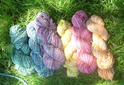 yarn spun from fibers dyed in Easter egg dye